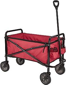 AmazonBasics Garden Tool Collection - Collapsible Folding Outdoor Garden Utility Wagon with Cover Bag, Red