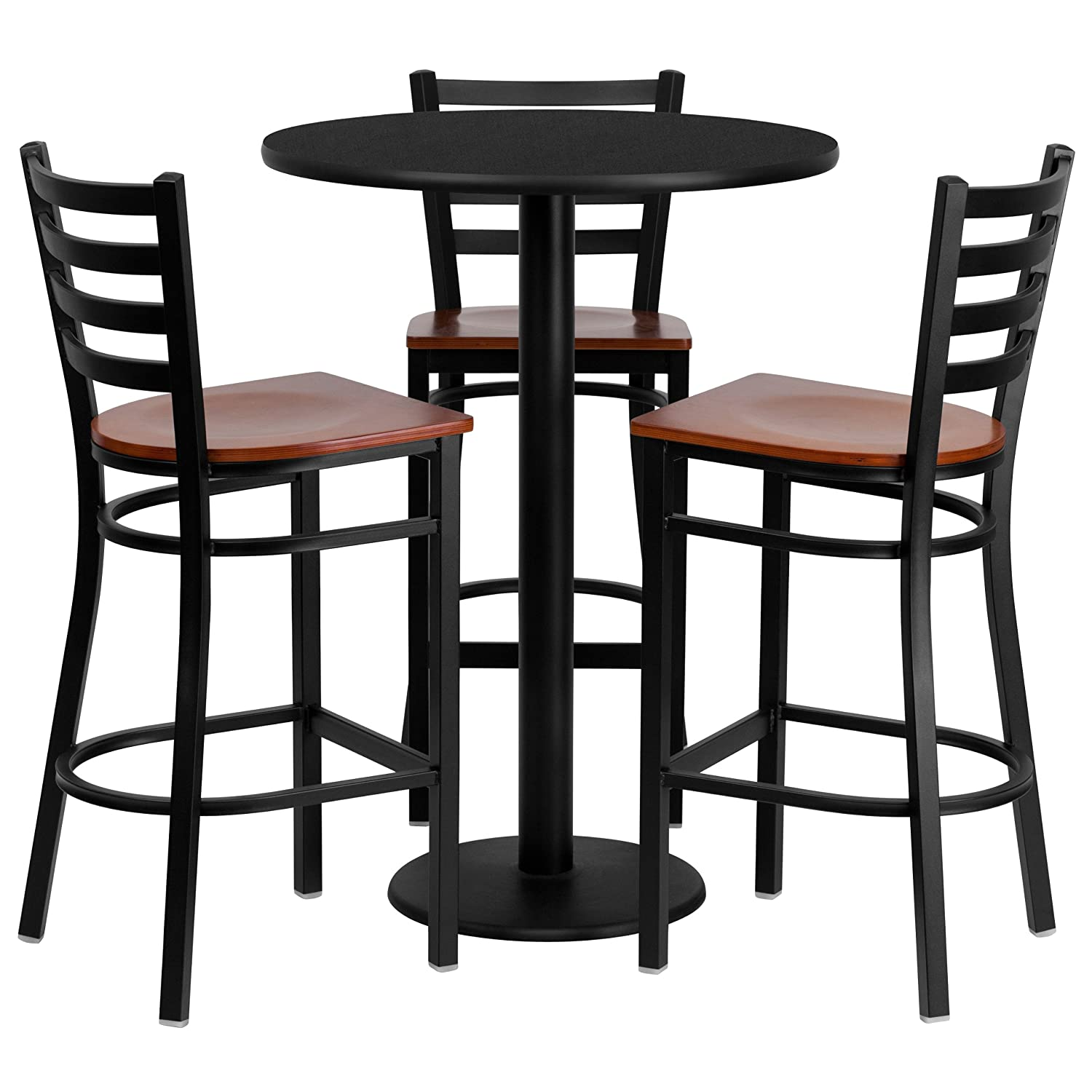 Amazon.com: Flash Furniture 30\'\' Round Black Laminate Table Set with ...