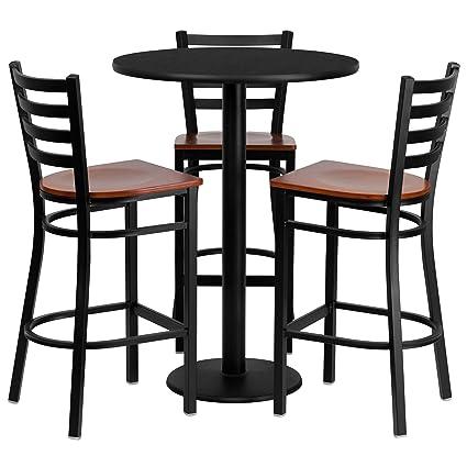 Amazoncom Flash Furniture 30 Round Black Laminate Table Set With