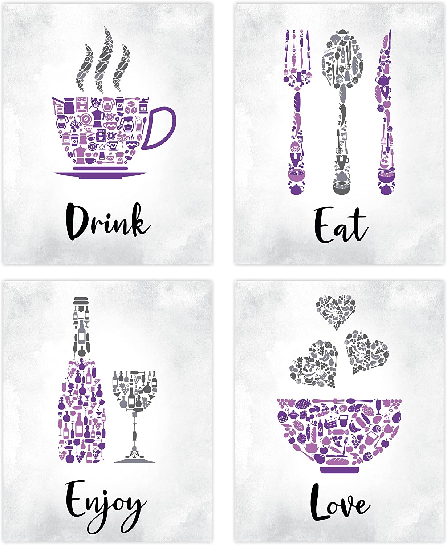 Purple Kitchen Wall Art Decor - Set of 4 Unframed Prints (8x10 Inch) Purple Kitchen Accessories Living Dining Room