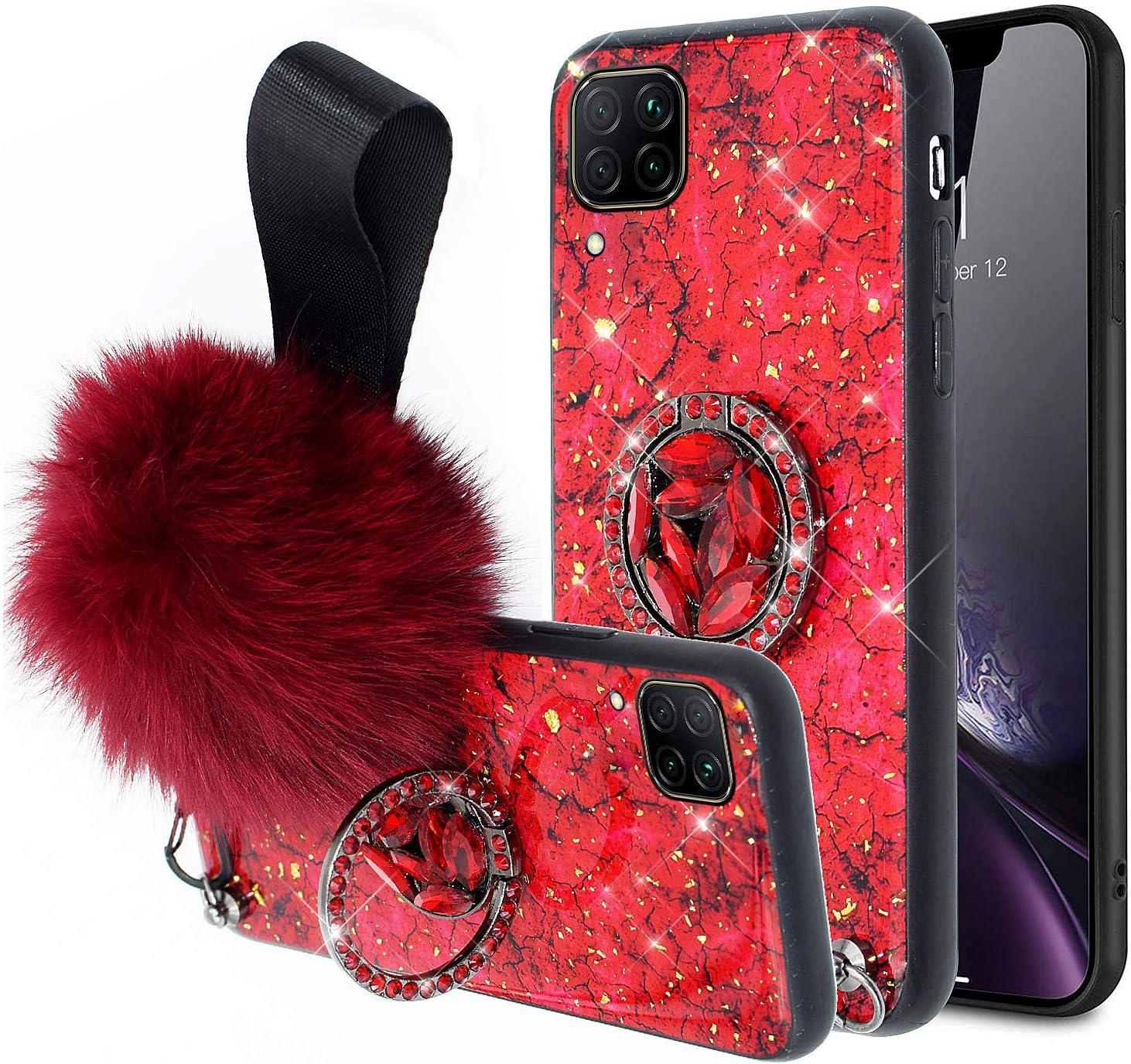 NSSTAR Compatibile con Huawei P40 Lite//Nova 6 SE Custodia in Silicone TPU Silicone Anello con Diamante Tondo Cover TPU+PC Backcover Protettivo Bumper Case Antiurto,Rosso con Hairball