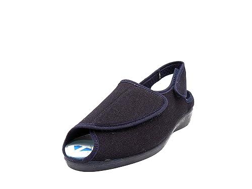 Zapatilla Mujer, Marca Doctor CUTILLAS, Color Azul Marino-Tejano, Pala Velcro,