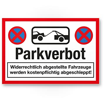 parkverbot Cartel (30 x 20 cm) | Nota placa de plástico para ...
