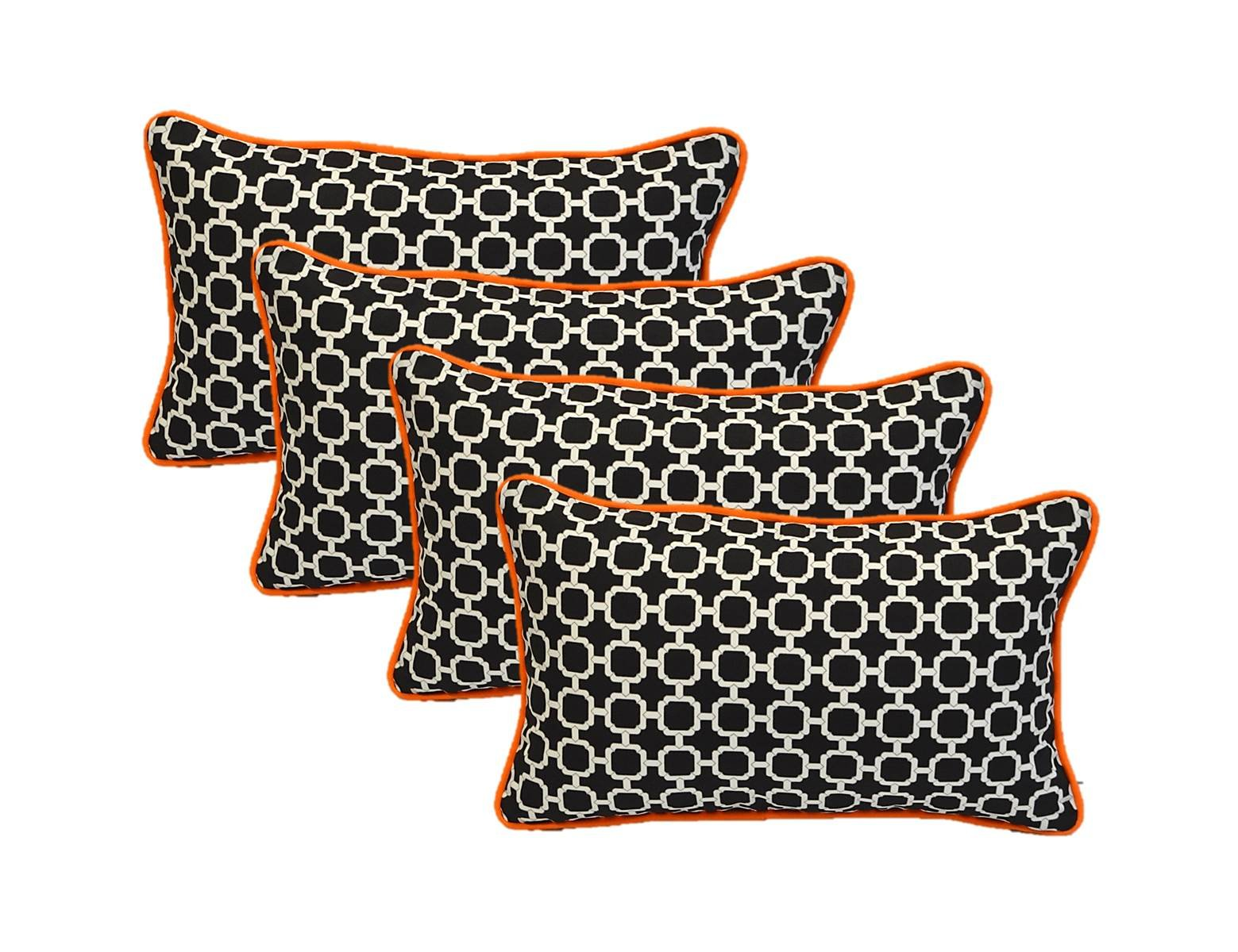 Set of 4 Indoor / Outdoor Decorative Lumbar / Rectangle Pillows - Black and White Geometric Hockley with Orange Piping / Cording - Zipper Cover & Insert