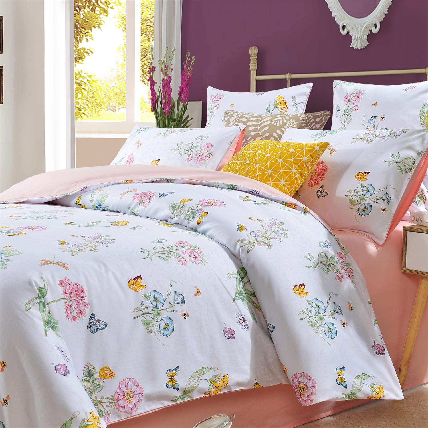 Softta Shabby Floral Bedding Set Twin 3 Pcs Princess Bedding Girls Duvet Cover 100% Egyptian Cotton 800 Thread Count Morning Glory Butterfly Pattern by Softta