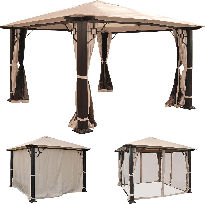 Pergola Mira, Cenador, 12 cm de lujo de aluminio estructura con aspecto pared + Mosquitera ~ 3, 5 x 3, 5 m): Amazon.es: Jardín