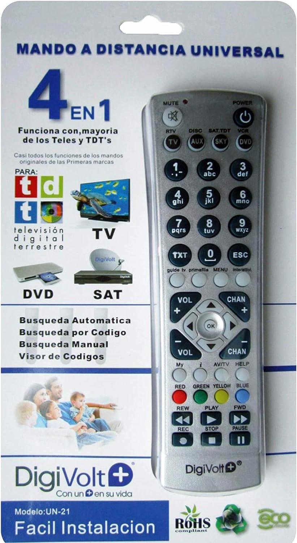 Digivolt Diggital World Mando Universal 4en1 Compatible con la mayoría de televisores y TDT´s: Amazon.es: Electrónica