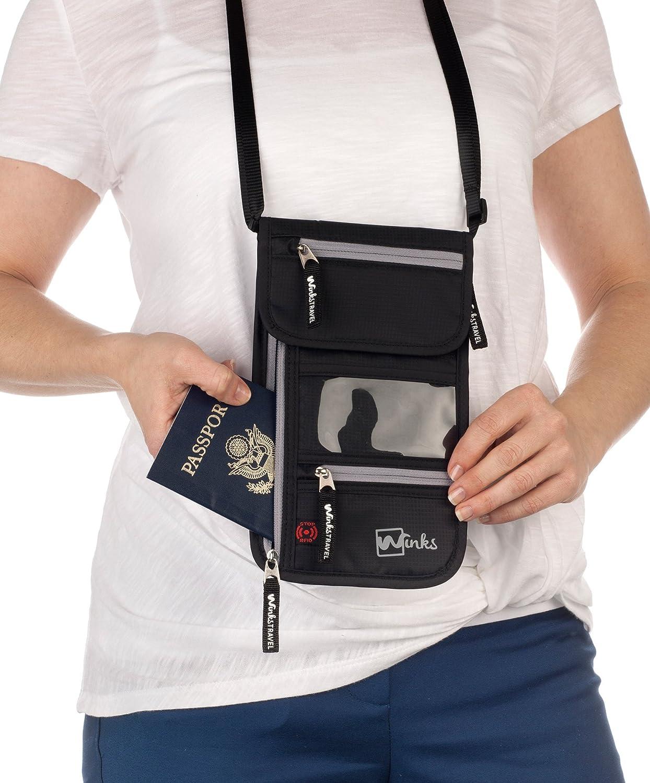Rangement 7 poches Sacoche tour de cou Winks avec poche passeport /à blocage RFID pour voyage