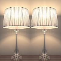 Pair of New Deco Modern Designer Bedside Table Lamps with Silver Ribbon Round Shade Set of 2 T806S1