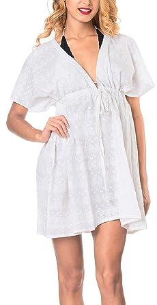 online store 0eebb 2d335 LA LEELA Baumwolle solide Tunika Strand Frauen verschleiern ...