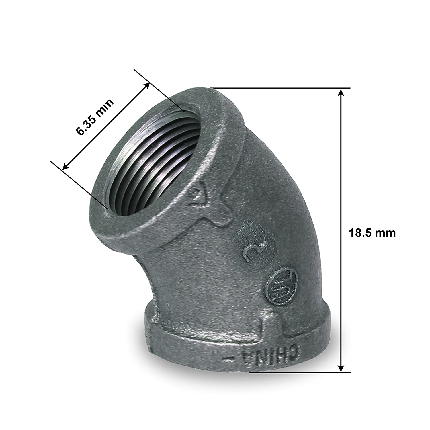 Everflow Supplies BMFF0014 1//4 45 Degree Malleable Iron Elbow Fitting for High Pressures with Female Thread Connects and Black Finish