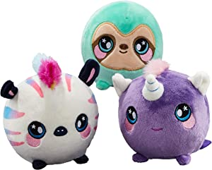 """Squeezamals (Kate Unicorn, Samantha Sloth, Zachry Zebra - 3.5"""" Super-Squishy Foamed Stuffed Animal! Squeezable, Cute, Soft, Adorable! Toy (3 Pack)"""