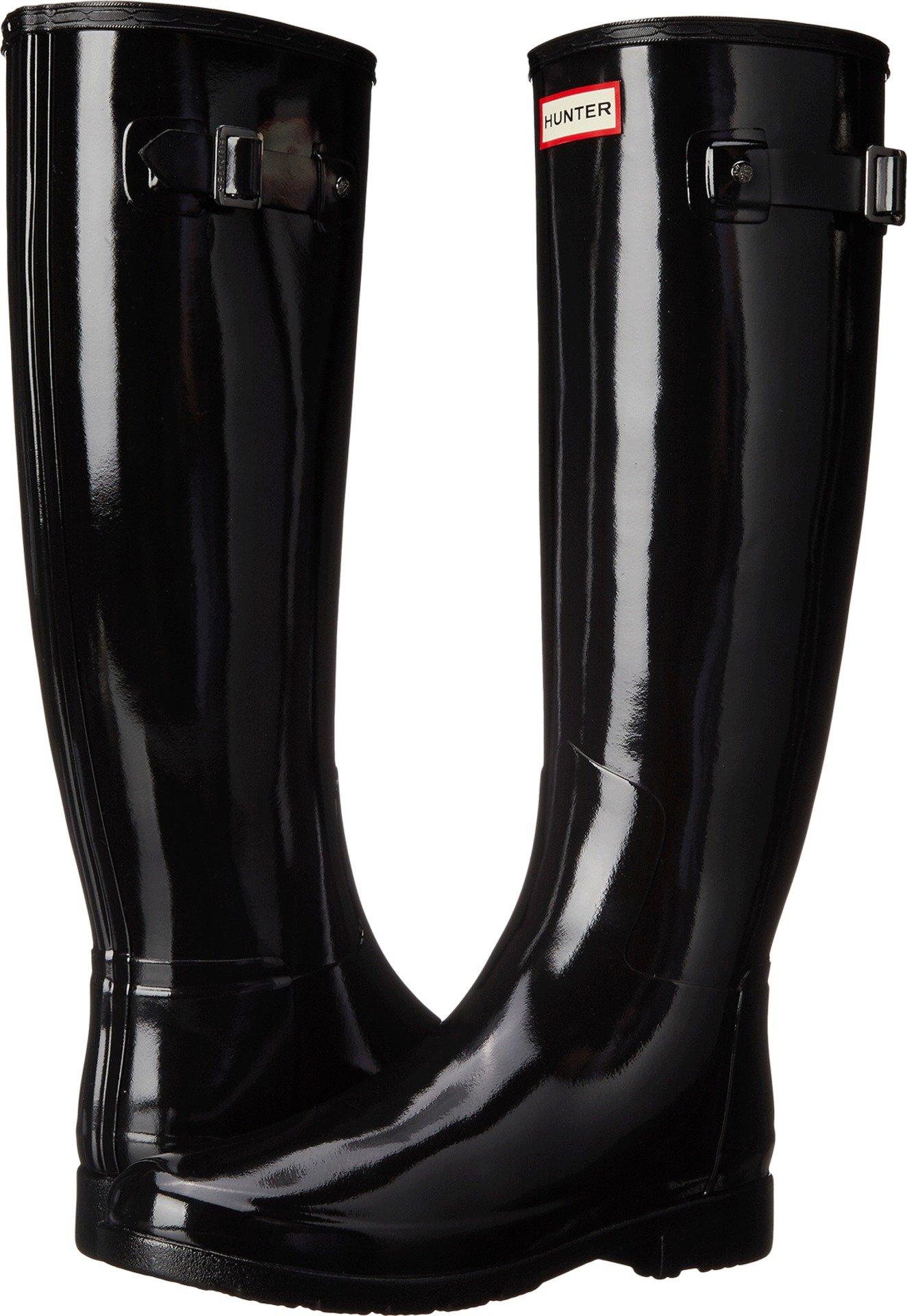 Hunter Women's Original Refined Gloss Rain Boots Black 9 M US