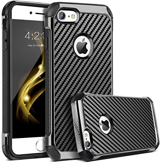 buy popular 3bb4e 72f7e iPhone 6 Case, iPhone 6S Case, BENTOBEN 2 in 1 Cool Slim Hybrid Hard PC  Cover Laminated with Carbon Fiber Chrome Anti-Scratch Shockproof Protective  ...