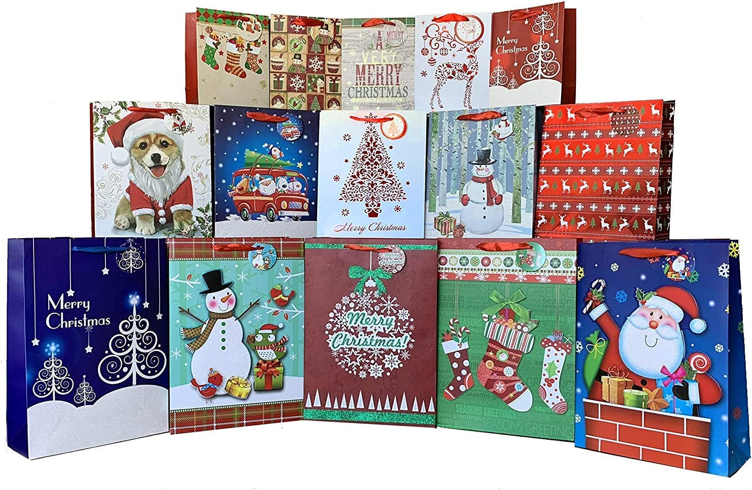 Christmas Gift Bags Assorted Sizes - Set of 15, Bulk, Large, Medium, Small, Handles, Gift Tags Included, Festive Holiday Gift Wrapping Decor