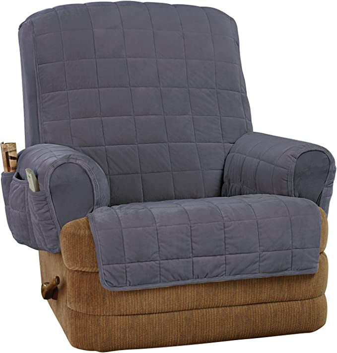 SureFit Silky Touch Non-Slip Recliner Furniture Cover - Storm Blue,Recliner
