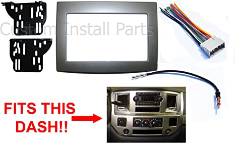 Silver Double Din Dash Install Kit w/Wiring Harness Radio Stereo Fits on 07 ford pickup, 07 lincoln pickup, 07 chevrolet pickup, 08 dodge pickup,