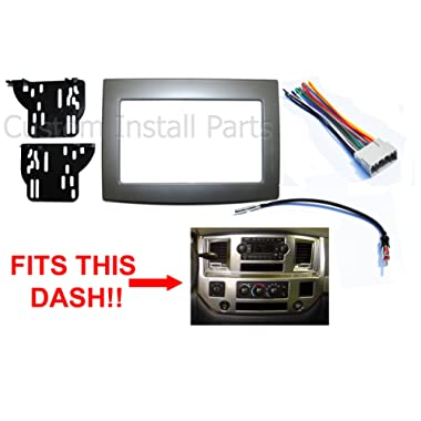 Silver Double Din Dash Install Kit w/Wiring Harness Radio Stereo Fits Dodge Ram