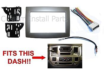 silver double din dash install kit w wiring harness radio stereo fits dodge ram 1967 Camaro Dash Wiring
