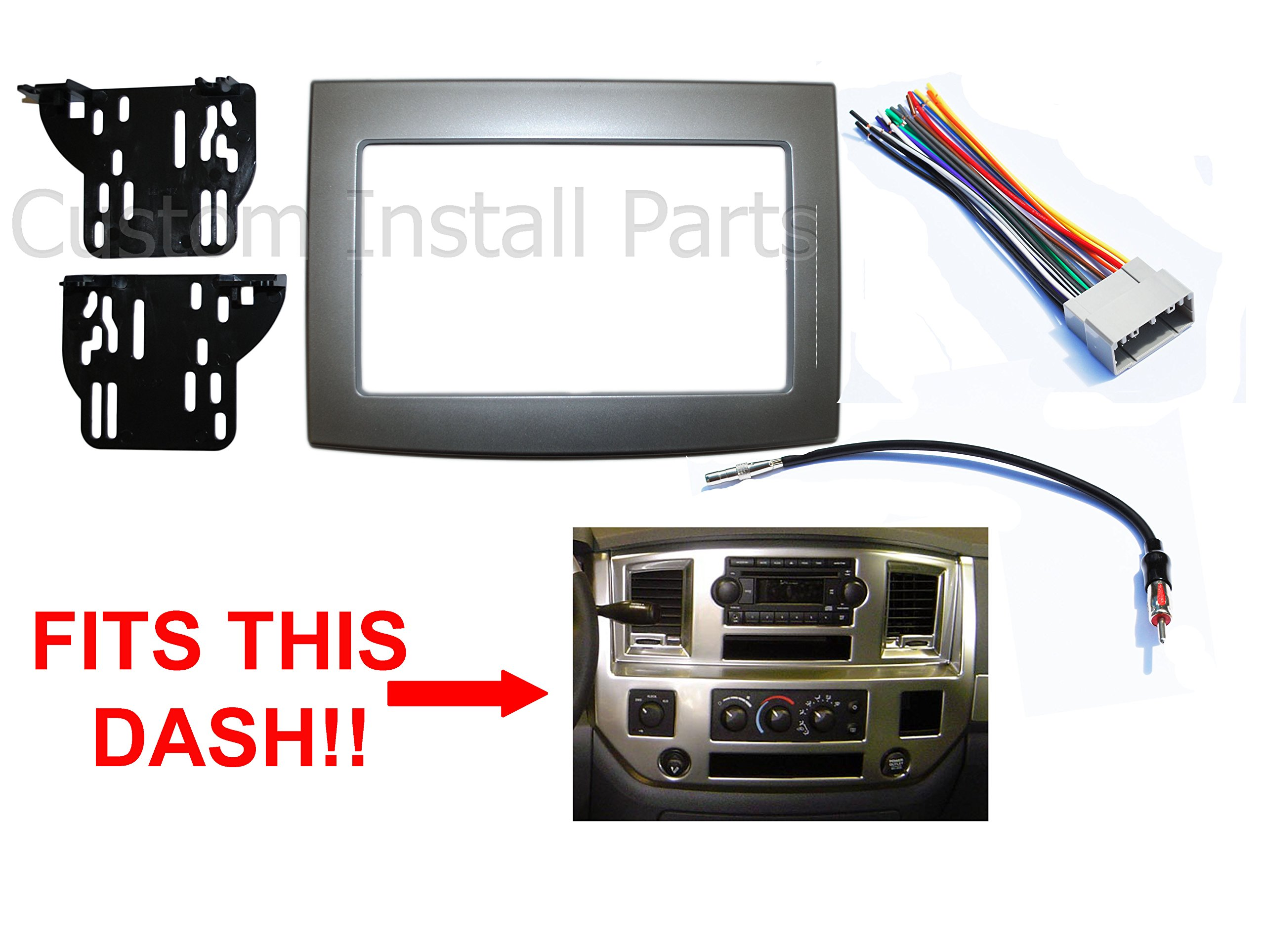 Silver Double Din Dash Install Kit w/ Wiring Harness Radio Stereo Fits Dodge Ram
