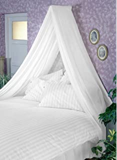 WHITE BED CANOPY SET Soft Sheer White VOILE U0026 Rod Fixing Kit COMPLETE EASY  FIX