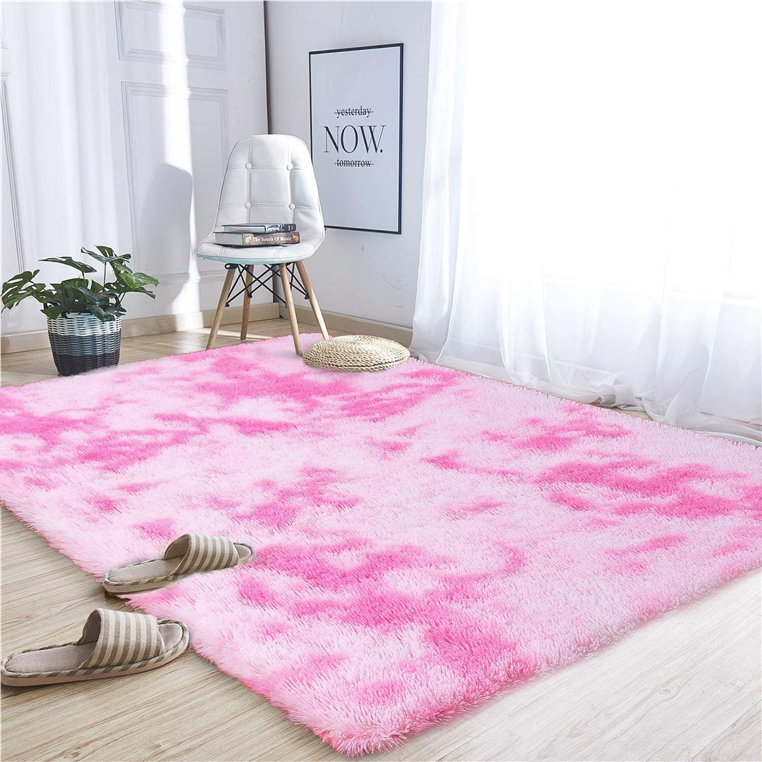 Noahas Abstract Shaggy Rug for Bedroom Ultra Soft Fluffy Carpets for Kids Nursery Teens Room Girls Boys Thick Accent Rugs Home Bedrooms Floor Decorative, 5 ft x 8 ft, Pink