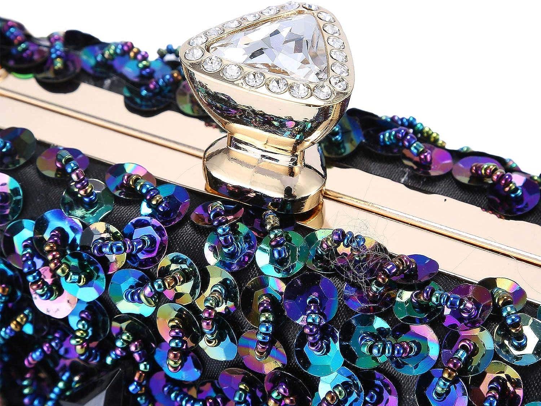 Clocolor Women Evening Bags and Clutches Crystal Clutch Beaded Rhinestone Purse Wedding Party Handbag Ladies Purses