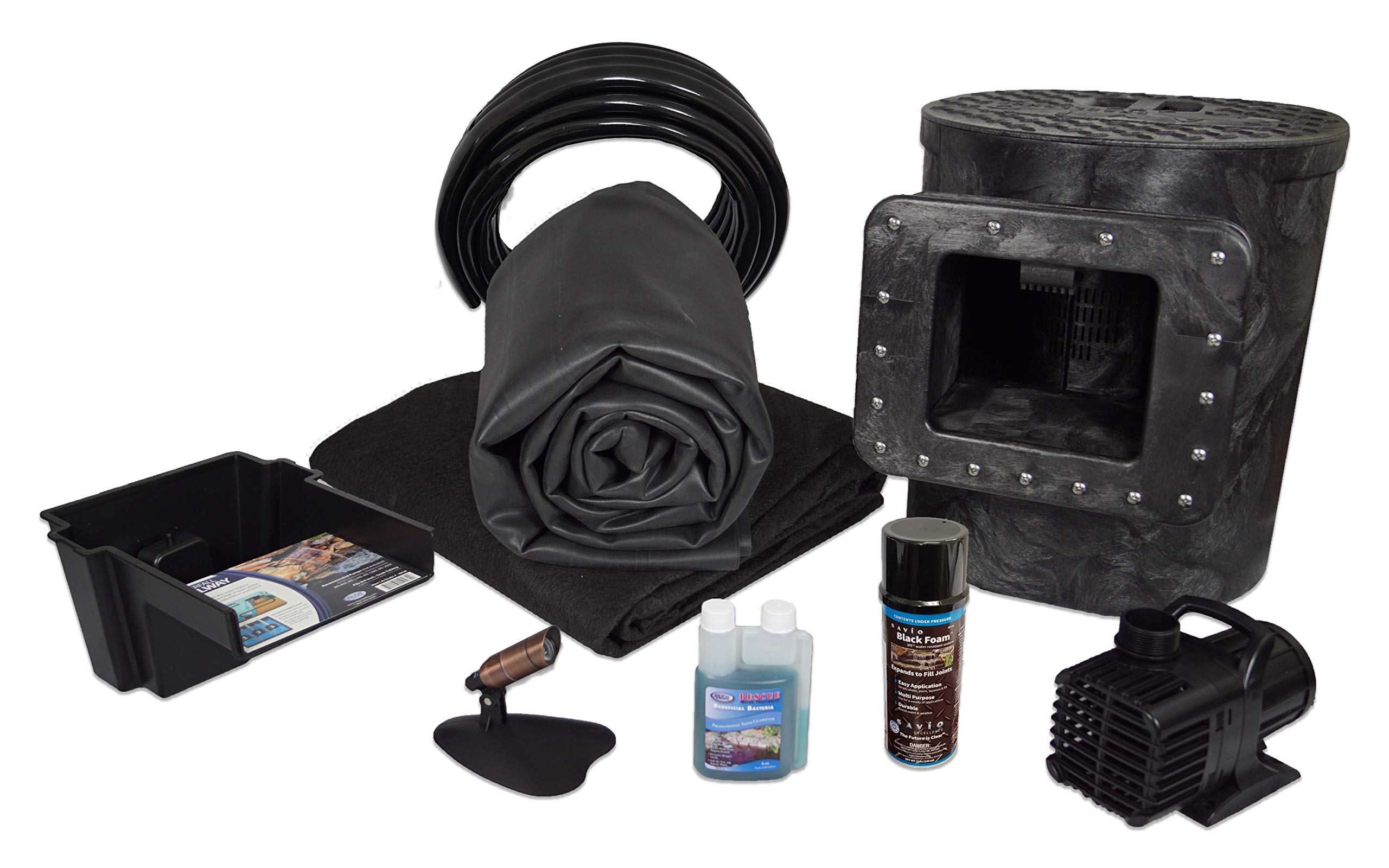 Half Off Ponds Savio Select 1200 Complete Water Garden and Pond Kit, with 10 x 10 Foot EPDM Rubber Liner