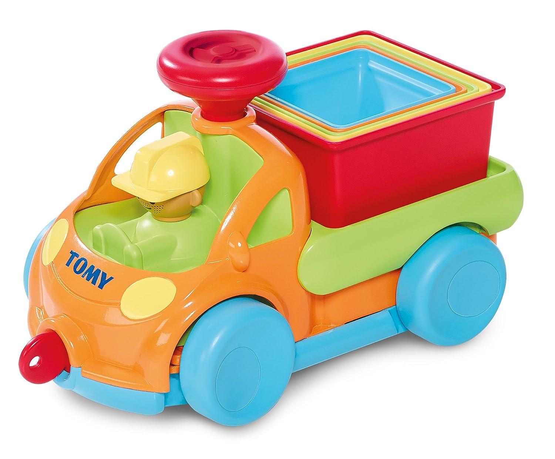 TOMY Babyspielzeug Stapel Auto mehrfarbig - hochwertiges Kleinkindspielzeug zum Lernen - vereint Spielzeugauto & Stapelspielzeug - ab 10 Monate E72467