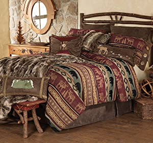 BLACK FOREST DECOR Rocky Ridge Moose & Bear Bed Set - King - Lodge Bedding Linens