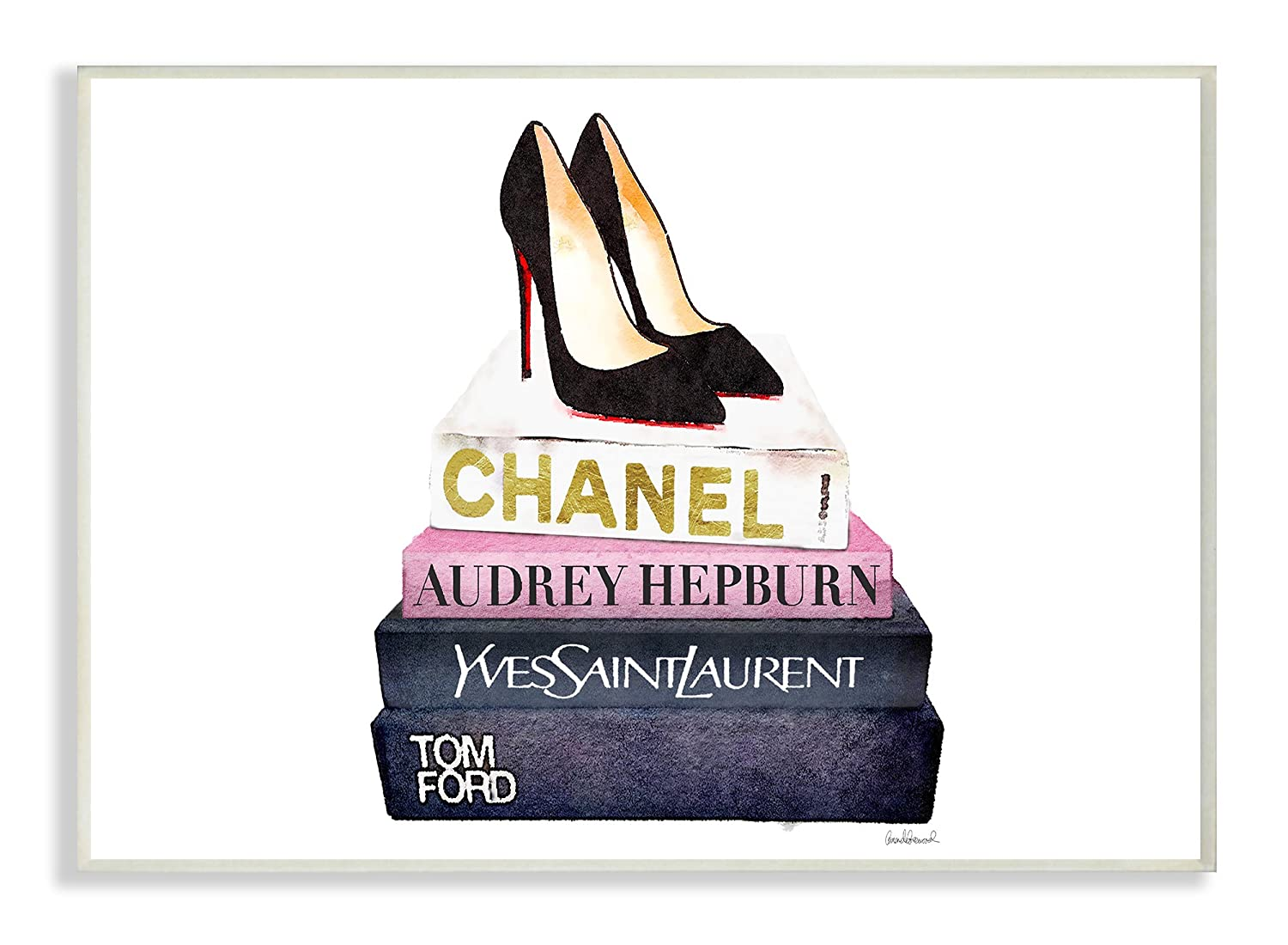 Stupell Industries Glam Fashion Book Set Black Pump Heels Wall Plaque Art, Proudly Made in USA agp-102_wd_10x15
