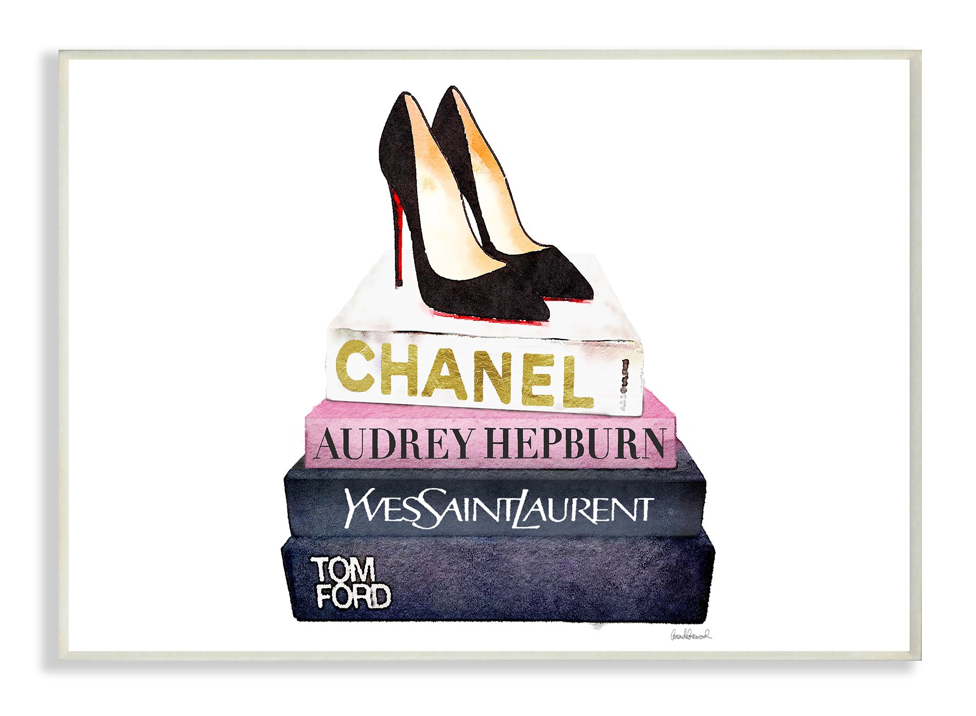 Stupell Industries Glam Fashion Book Set Black Pump Heels Oversized Wall Plaque Art, Proudly Made in USA