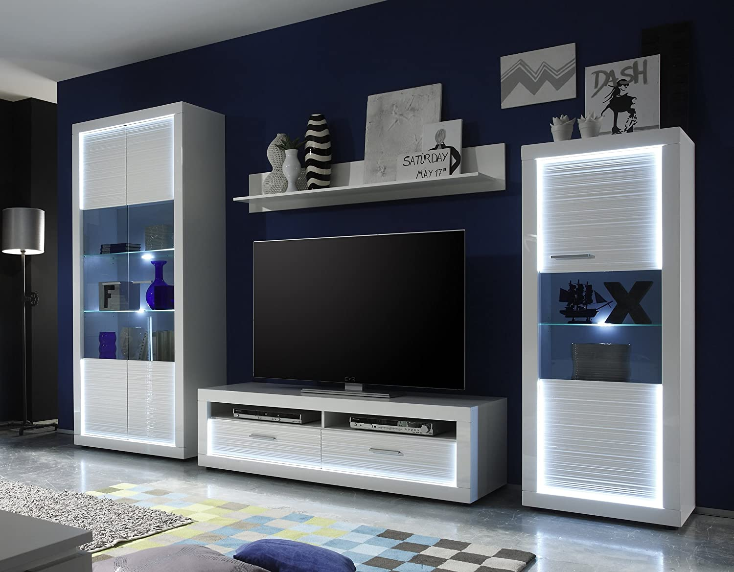 wohnwand weiss hochglanz rillenoptik weiss nachbildung online bestellen. Black Bedroom Furniture Sets. Home Design Ideas