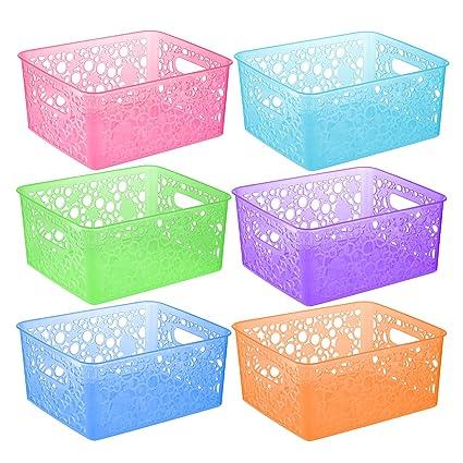 pretty nice 5f930 123ea Zilpoo 6 Pack - Plastic Colorful Storage Organizing Basket ...