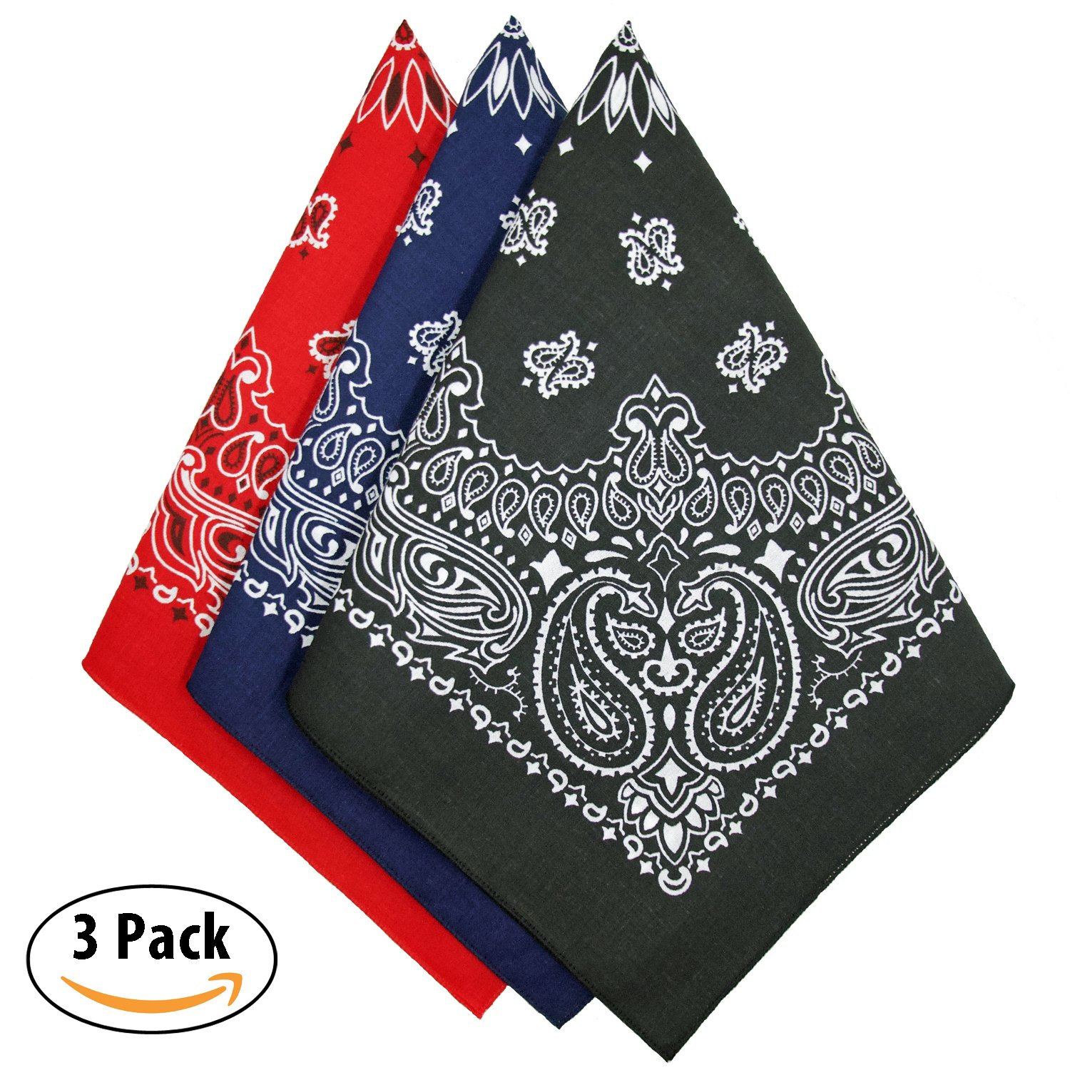 Bandana 3-Pack - Made in USA For 70 Years - Sold by Vets – 100% Cotton –Sewn Edges by OHSAY USA (Image #2)