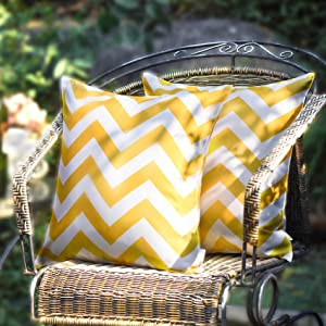 WESTERN HOME WH Pack of 2 Decorative Outdoor Waterproof Throw Pillow Covers Square Pillowcases Wave Pattern Cushion Covers Shell for Couch Patio Garden Tent Park Yellow 18 x 18 Inch