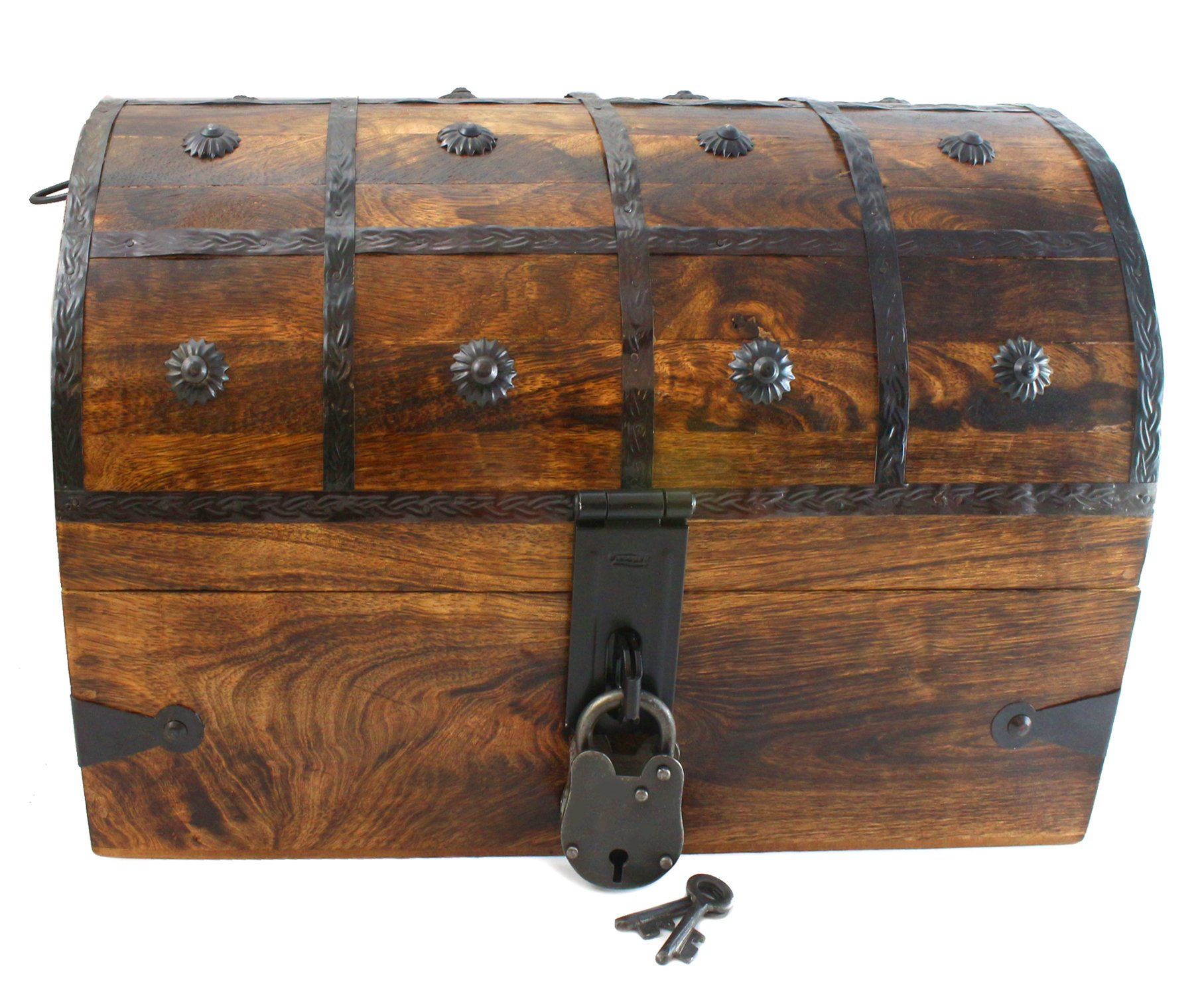 "Well Pack Box Wooden Pirate Treasure Chest Box 15"" x 10"" x 10"" Black Bart Model Authentic Antique Style With Black Hasp Latch Includes Master Padlock & Vintage Skeleton Keys"
