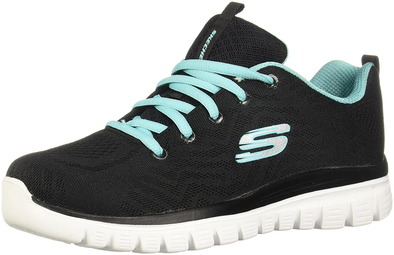 Skechers Sport Women's Graceful-Get Connected, Tenis para Mujer 38 EU|Black/Turquoise Trim