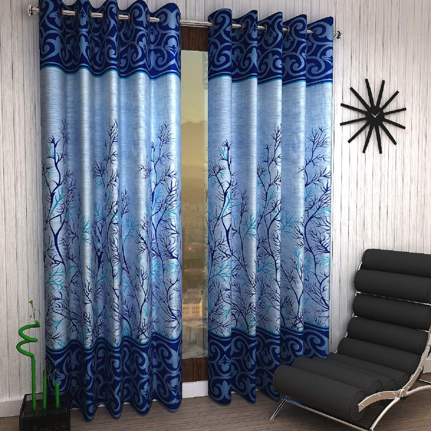Home Sizzler 2 Piece Eyelet Polyester Door Curtain - 7ft, Blue