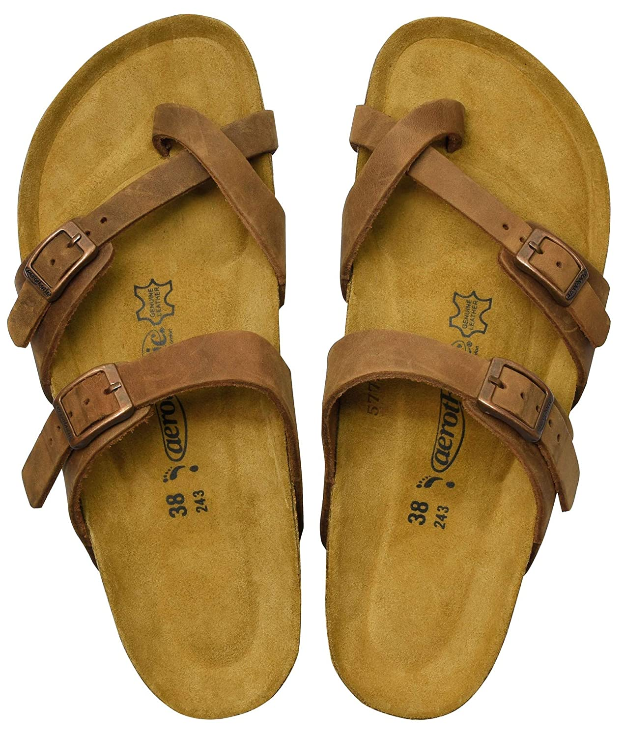 Women's Comfortable Arch Support Minerva Brown Leather Sandals - DeluxeAdultCostumes.com