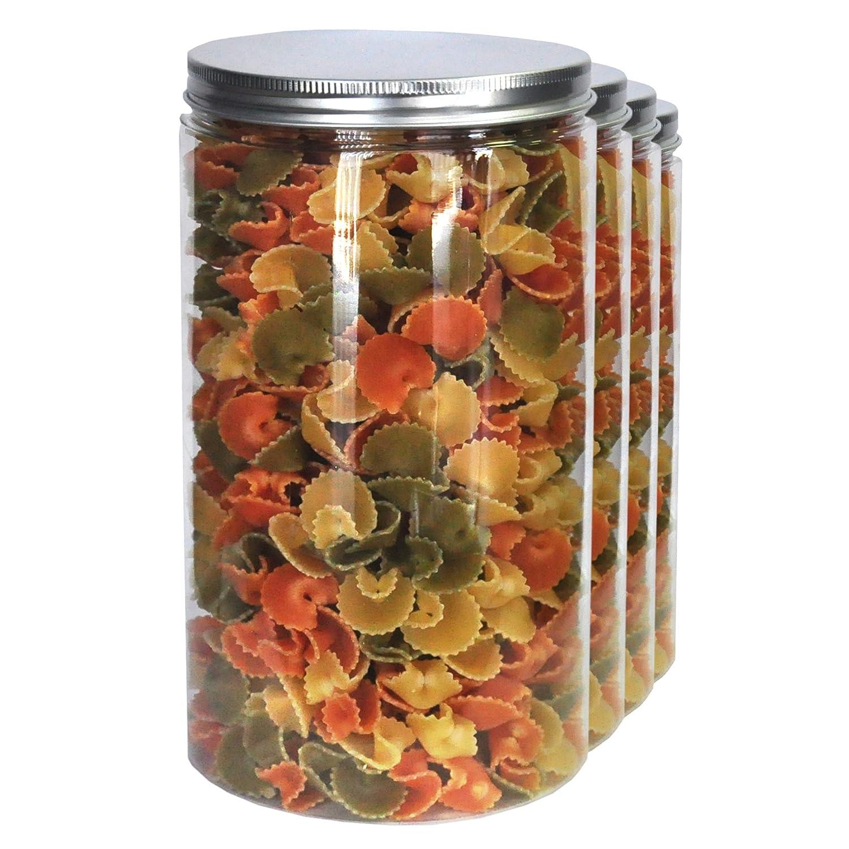 Pack 4 Barattoli di Polietilene Alimentare, 1,3 L (18x10cm), Contenitori con Coperchi in Alluminio a Vite. Riciclabile. 100% Senza BPA. Nortem Biotechnology