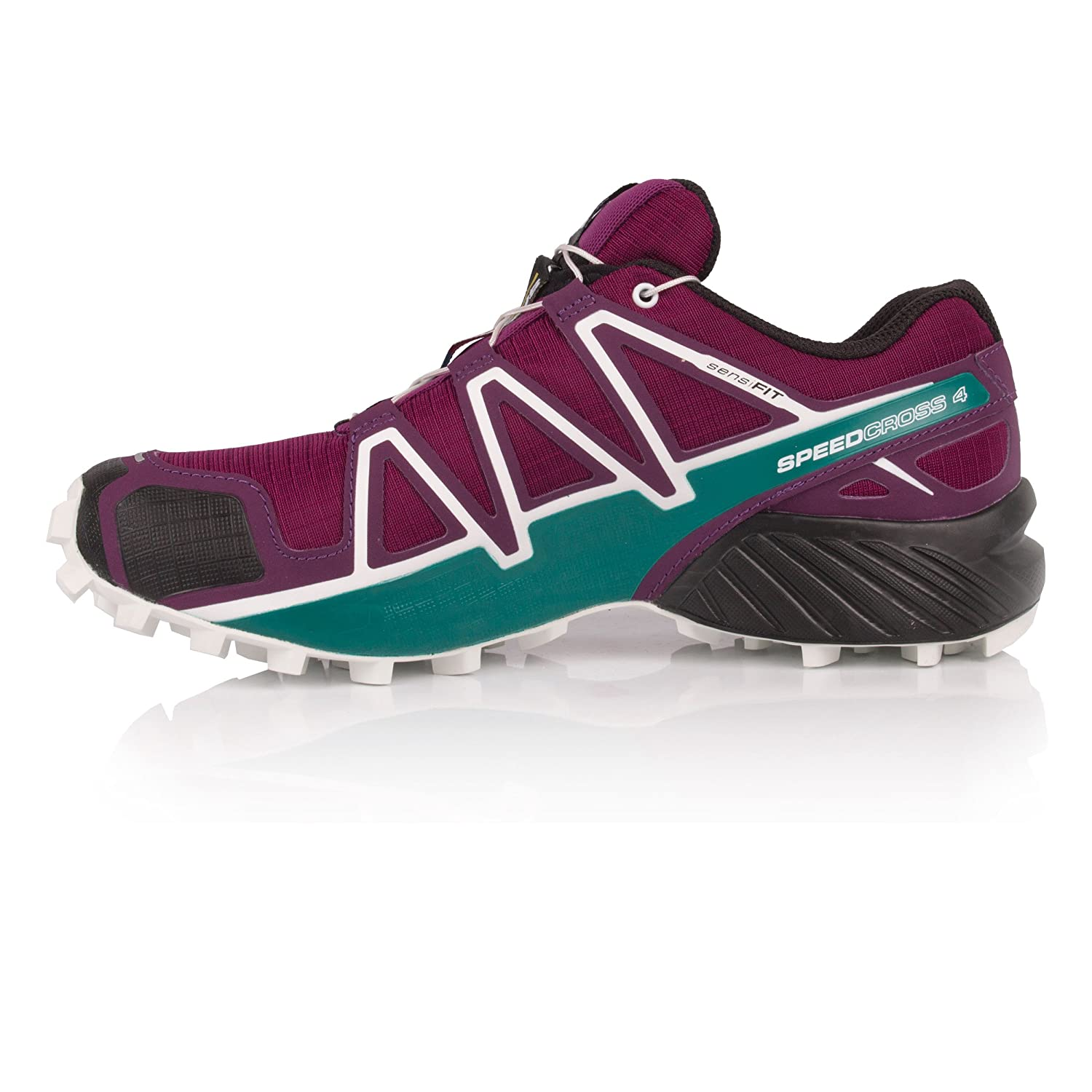 Salomon Women's Speedcross 4 W Trail Runner B077BCNX88 8.5 B(M) US|Dark Purple/White/Deep Lake