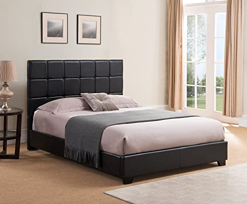 Mantua Kenville Black Upholstered Platform Bed Easy to Assemble Faux Leather Platform Bed for Queen Beds, Dress Up your Bedroom, No Box Spring Needed Model