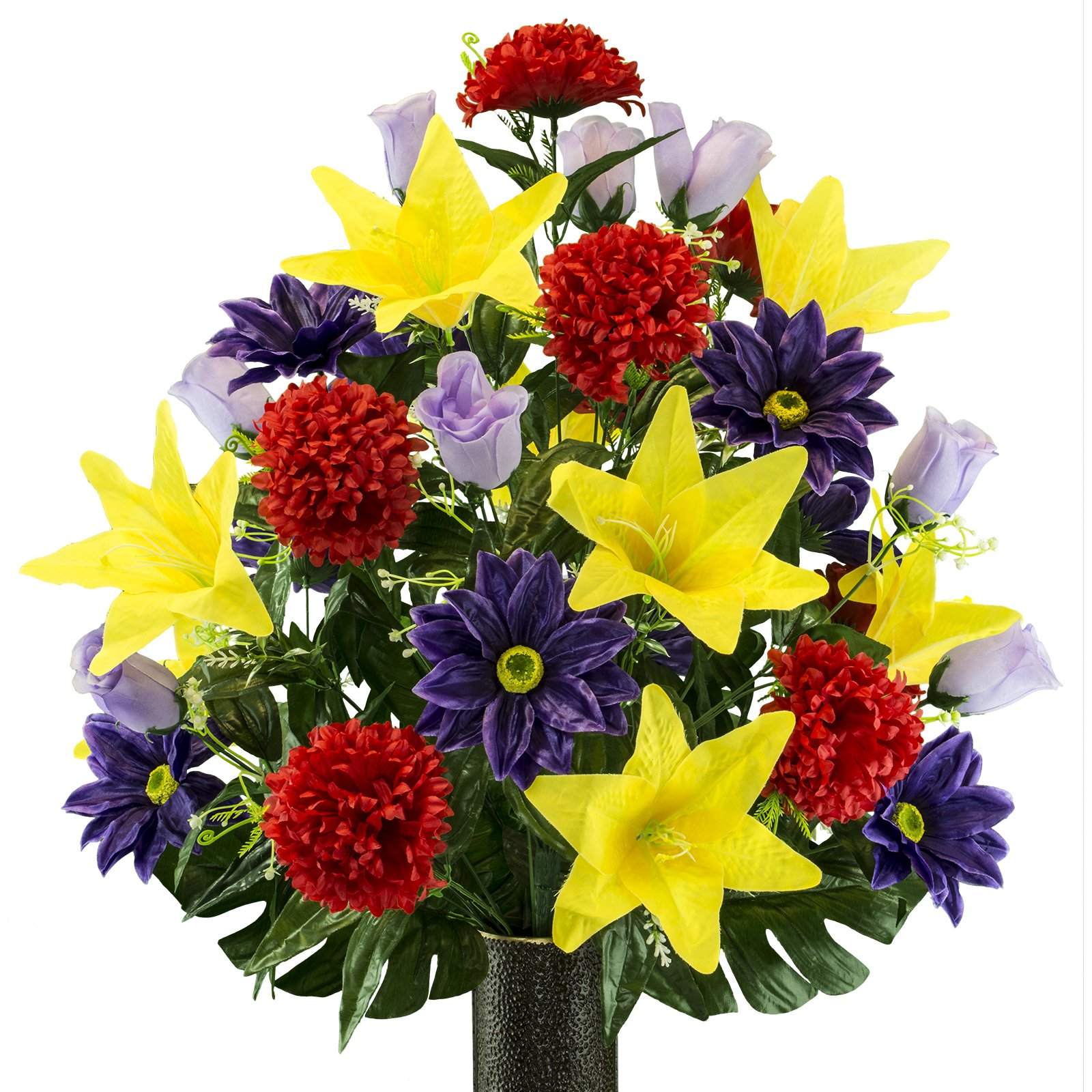 Purple-Gerbera-and-Yellow-Lily-Mix-Artificial-Bouquet-featuring-the-Stay-In-The-Vase-Designc-Flower-Holder-LG2173