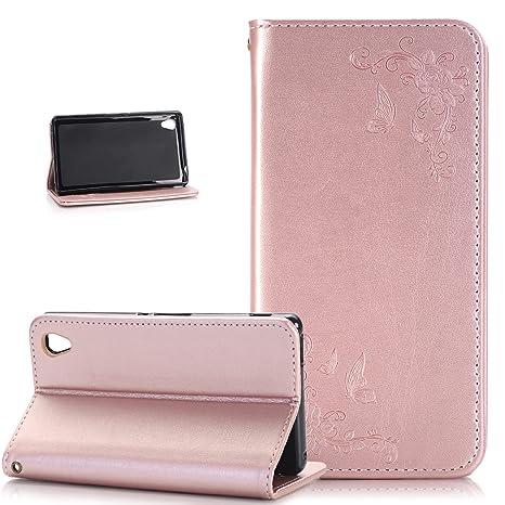 Kompatibel mit Sony Xperia Z3 Hülle,Sony Xperia Z3 Schutzhülle,Prägung Schmetterling Rose Blumen PU Lederhülle Flip Wallet St