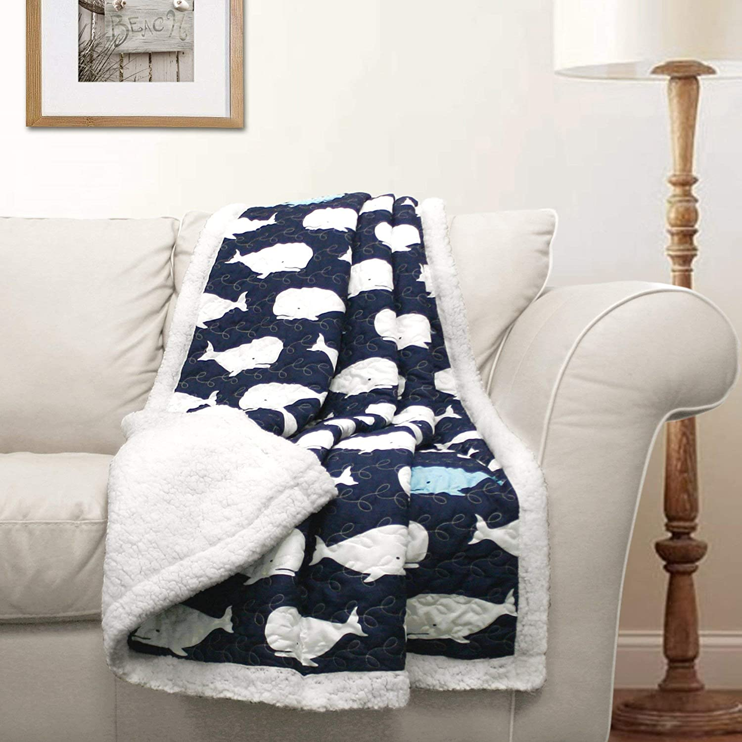 "Lush Decor Whale Throw Sherpa, 60"" x 50"", Navy"