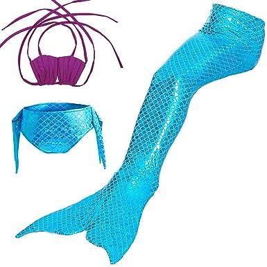 WhiFan Las Muchachas Cosplay Traje de baño Sirena Chica Shell Traje de baño 3pcs Bikini Conjuntos