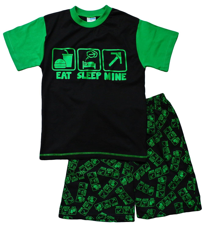 Boys EAT Sleep Mine Short Pyjamas Fantastic Computer Game Style Green AOP