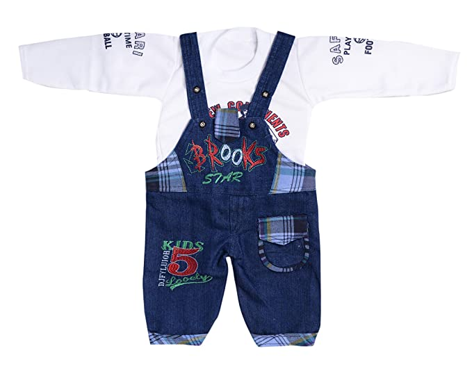 34864b3a29 Krystle Kids Denim Dungaree with T-Shirt White