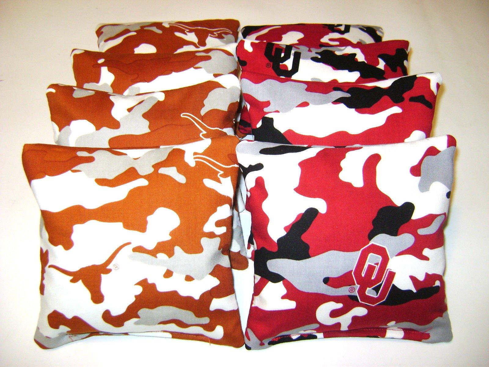 Texas Longhorns Vs Oklahoma Sooners Red River Cornhole Bean Bags 8 Camo Toss